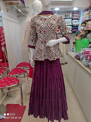 Peplum top thred work with skirt