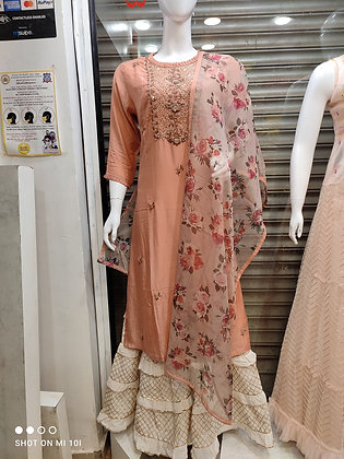 Musleen silk hand work  kurta with organza printed dupatta with sharara