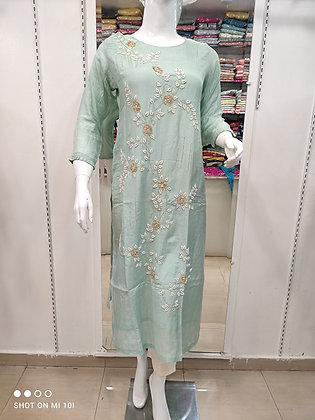 Musleen silk kurta with hand work