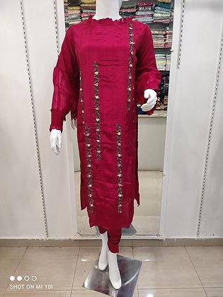Organza silk kurta with nice hand work