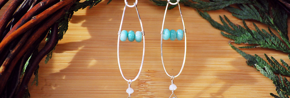 Amazonite and Moonstone Frond Earrings