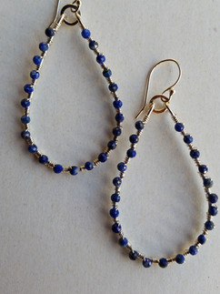 Wrapped Lapis Hoops