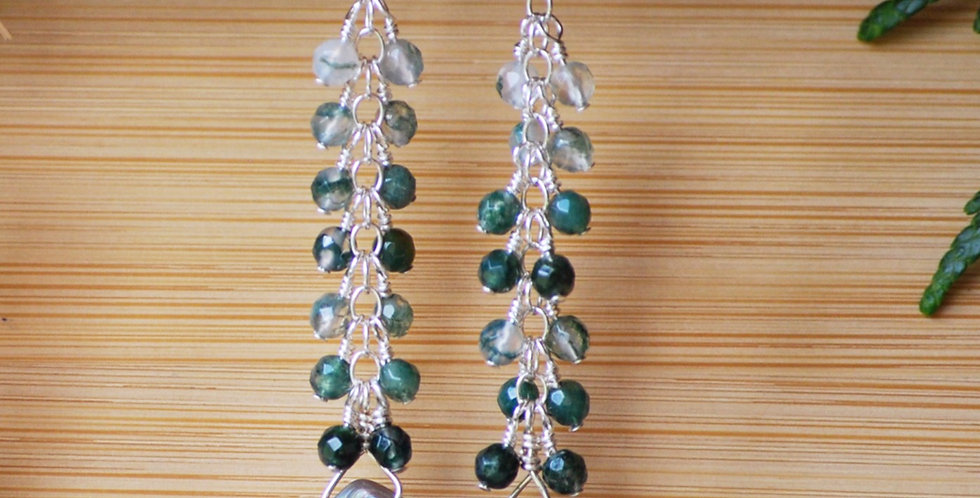 Abalone Cascade Earrings with Moss Agate