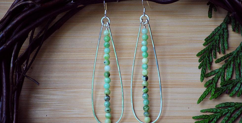 Chrysoprase long Drop earrings