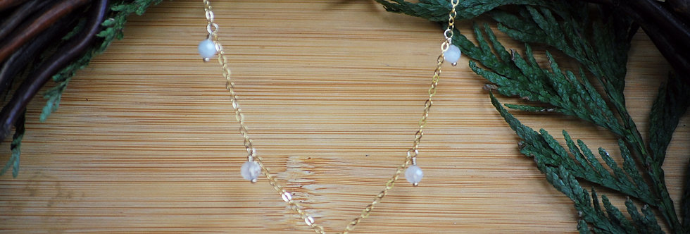 Gold filled Moonstone Starlight Necklace