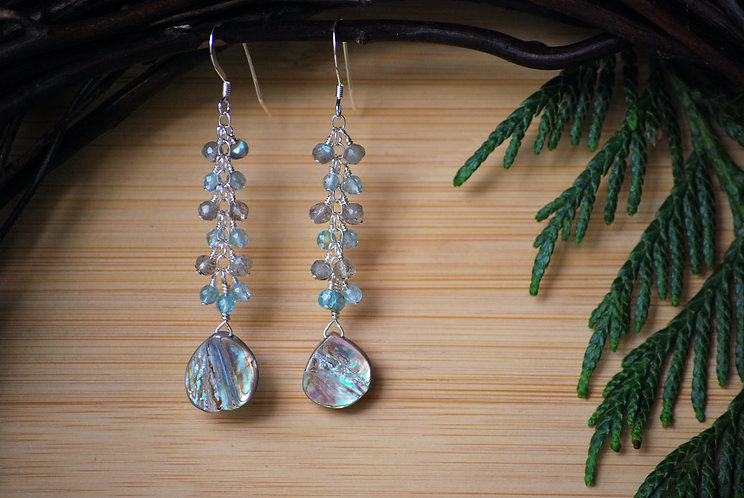 Abalone Cascade Earrings with Labradorite and Apatite