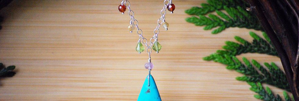 Turquoise Drop Chakra Necklace