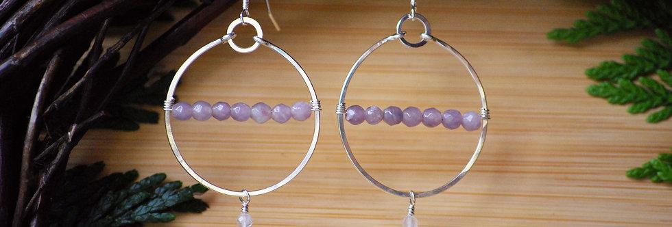 Lavender Amethyst Hoops