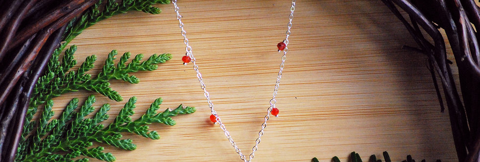 Carnelian Drop Starlight Necklace