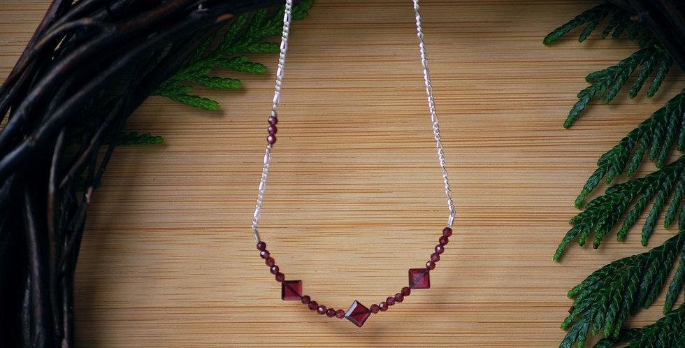 Garnet Diamond Necklace