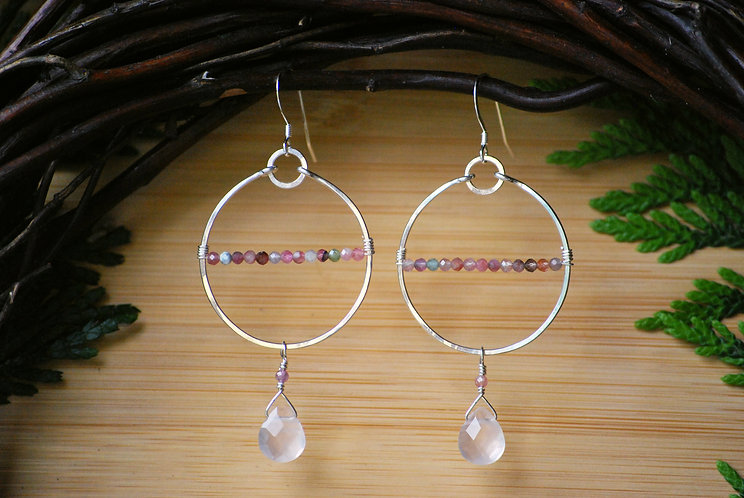 Rose Quartz and Tourmaline Horizon Hoops