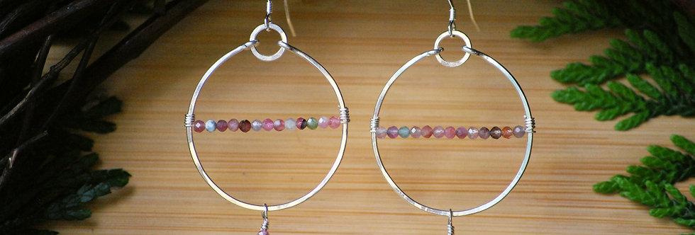 Rose Quartz and Tourmaline Horizon Hoops