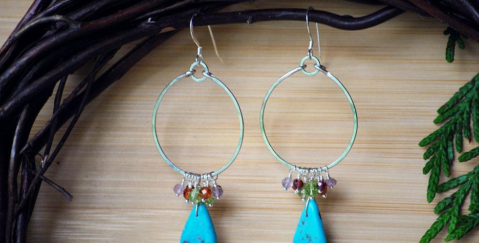 Turquoise Drop Chakra Earrings