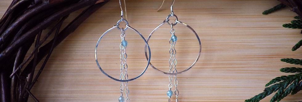 Sunstone and Chalcedony chain Hoops