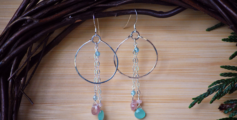 Chalcedony and Sunstone  Chainy Hoops