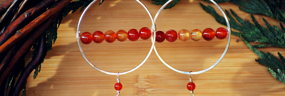 Citrine and Carnelian Horizon Hoops