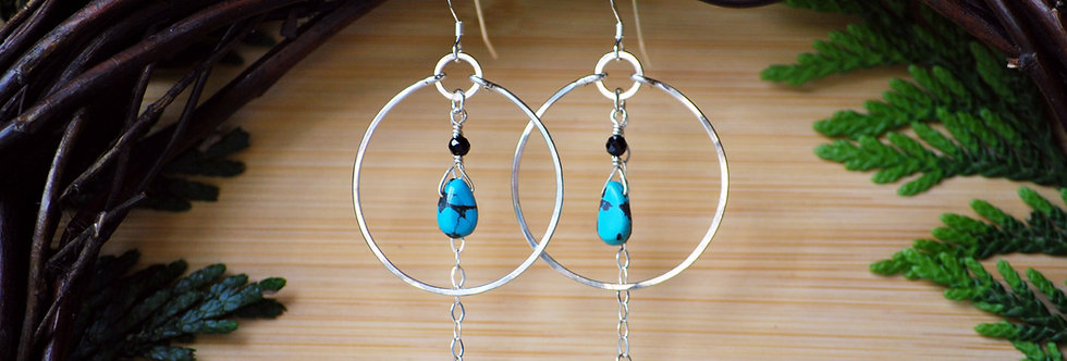 Turquoise and Black Spinel chain Hoops