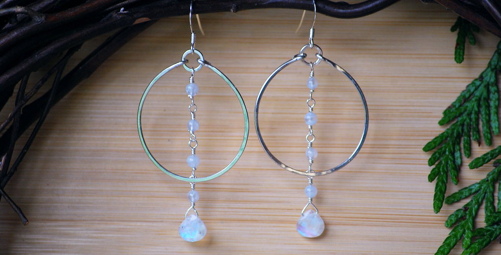 Rainbow moonstone Hoops