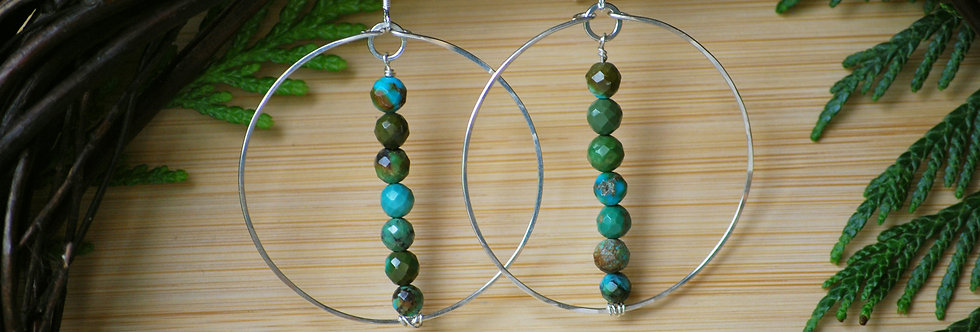 Faceted Turquoise Circle Hoops