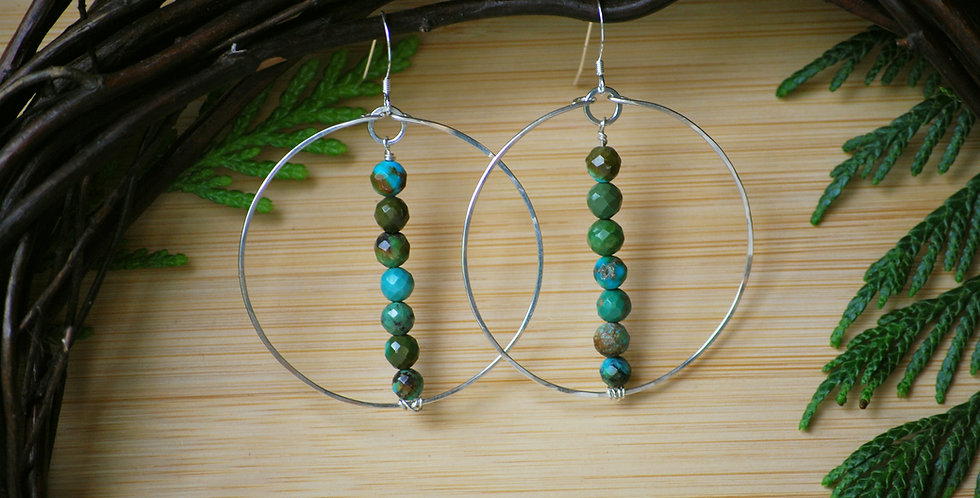 Faceted Turquoise on Hammered Hoops