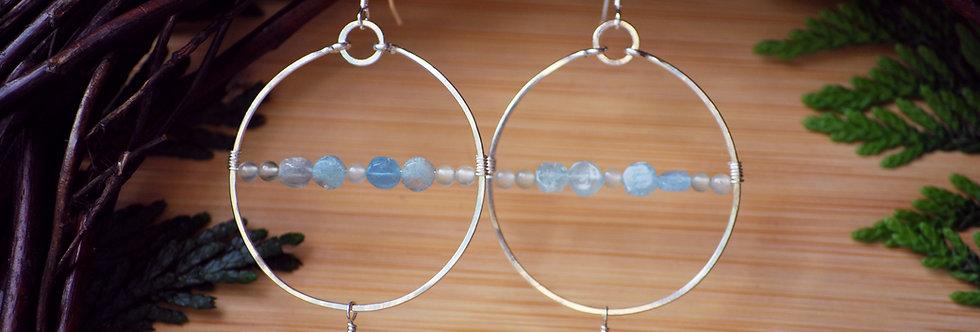 Aquamarine and Prehnite Horizon Hoops