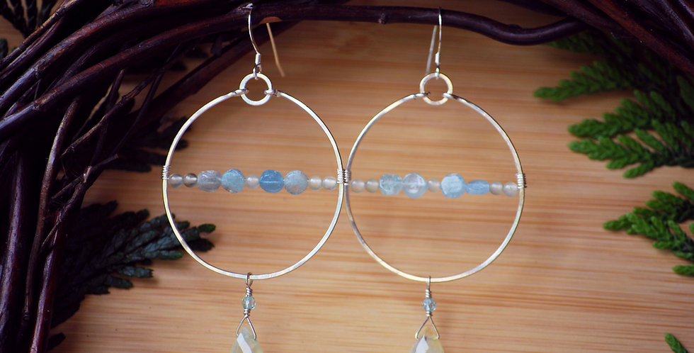Aquamarine and Prehnite Hoops