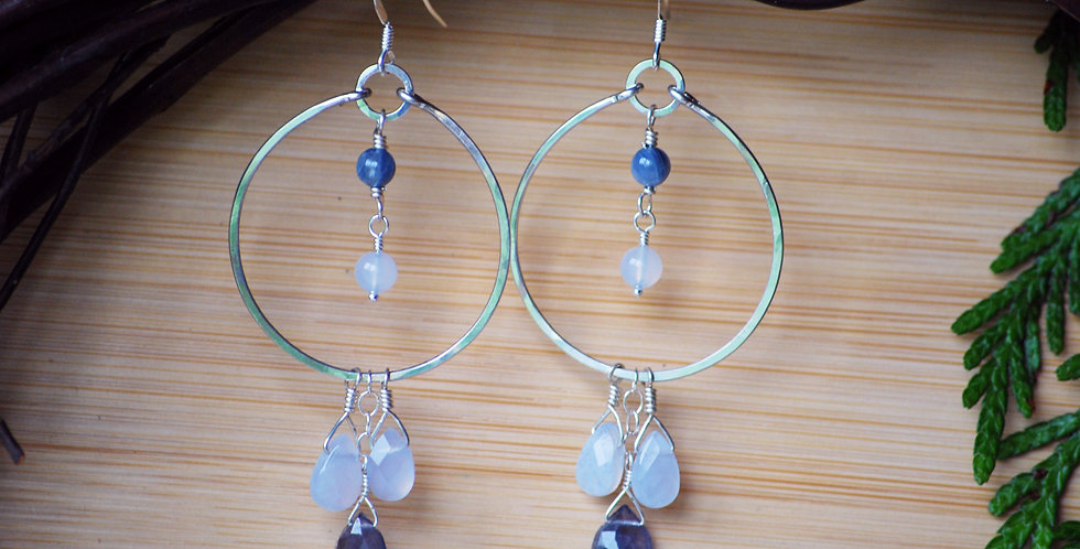 Blue lace agate and Iolite triple drop hoops