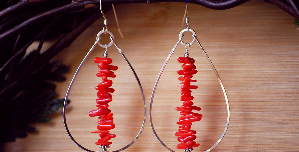 Big Drop Hoops with Red Coral