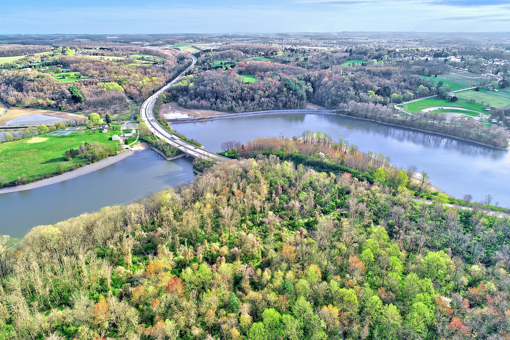 aerial photography at lake redman in york, pa