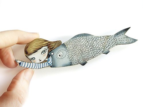 Fish Girl Necklace/Brooch