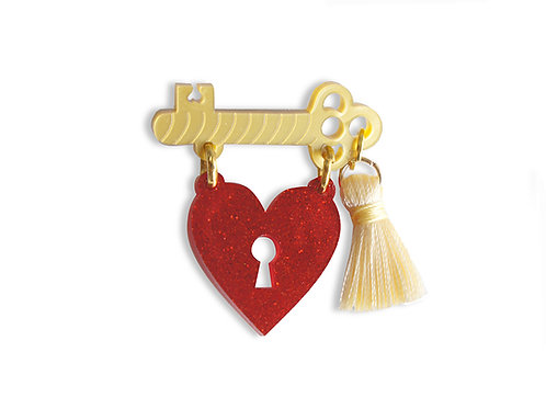 Heart Padlock Brooch
