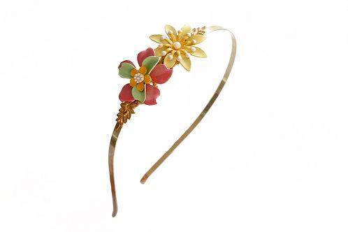 Diadema flores de metal