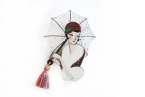 Broche chica con paraguas