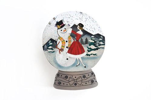 Broche bola de nieve - muñeco de nieve