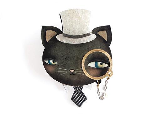 Broche Gato con Monóculo