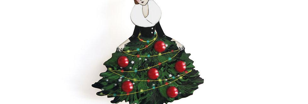 Broche Chica con árbol de Navidad