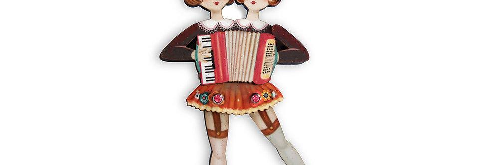 Broche Hermanas acordeonistas