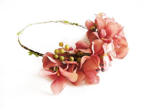 Corona Floral Hortensia rosada