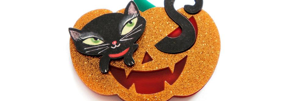 Broche Calabaza con gatita