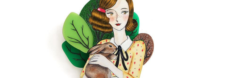 Broche Chica con conejo