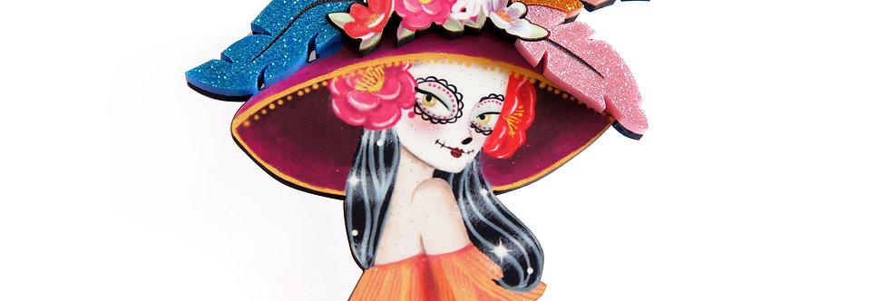 Broche Catrina mexicana