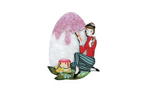 Broche Chica pintado huevo de Pascua