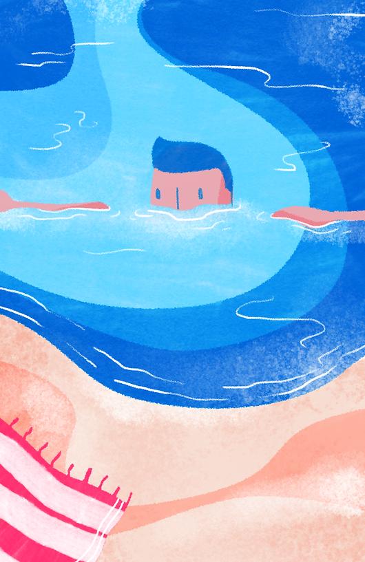 ilustrado nadador