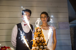 Bride & Groom with wedding cake