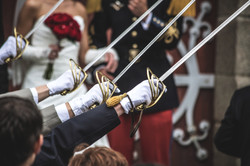 Swords at a military wedding