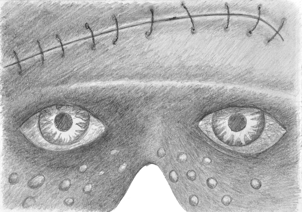 MASK-E-RADE Frankenstein's monster concept sketch