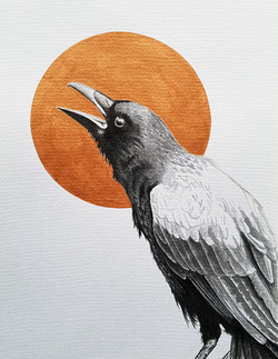 Crow and Gold Moon