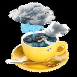 Storm in a teacup illustration