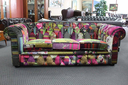 A New Chesterfield 3 Seater Sofa in Colourful Patchwork Fabric with Warranty