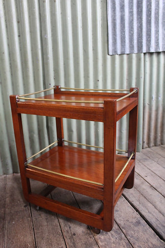Vintage Two Tier Mahogany Auto Trolley with Brass Galleries - Drinks - Tea